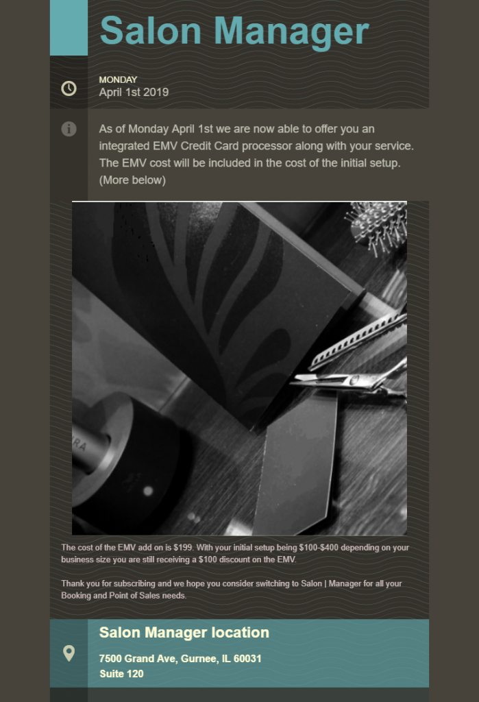 Salon Manager email  Template